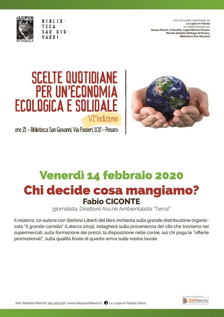 SCELTE QUOTIDIANE PER UN'ECONOMIA ECOLOGICA E SOLIDALE  (VI edizione) – Chi decide cosa mangiamo?